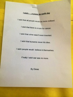 This a poem written by Trey's classmate. 4th graders!! Pretty remarkable.