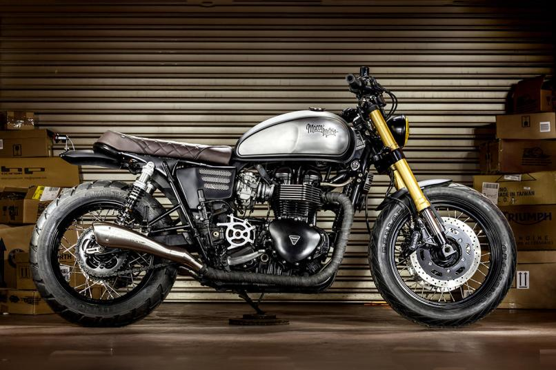Triumph Bonneville Cafe Racer With Ducati Forks By Macco Motors Full Size