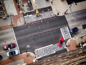 Hopscotch crosswalk designed by Graham Coreil-Allen