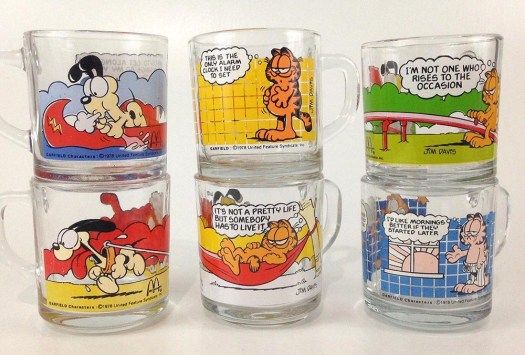 1987-garfield-mugs-set-of-6-mcdonalds-happy-meal-toys