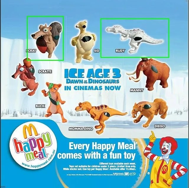 2003-ice-age 3-dawn-of-the-dinosaurs-mcdonalds-happy-meal-toys