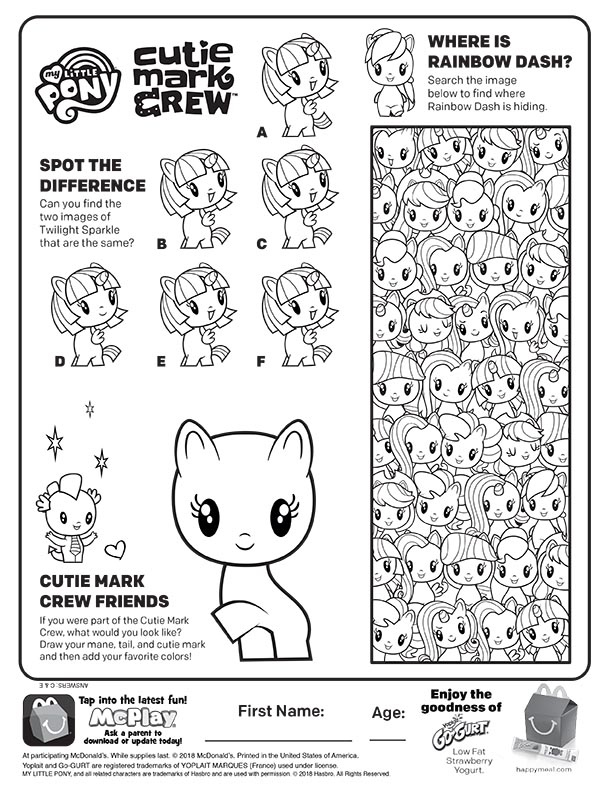 McDonalds Happy Meal Coloring Page and Activities Sheet