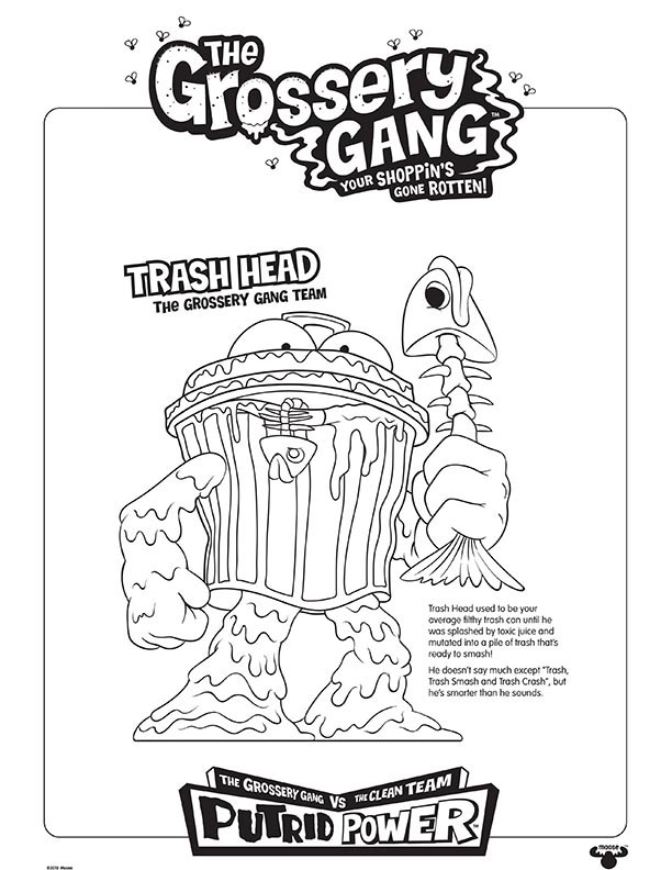 grossery gang coloring pages the grossery gang series 3 coloring sheets pages trash head – Kids  grossery gang coloring pages