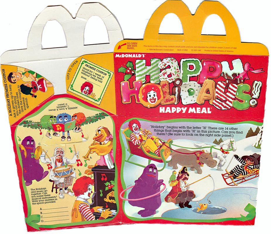 Mcdonalds Happy Meal Toys 1984 Happy Holidays Kids Time