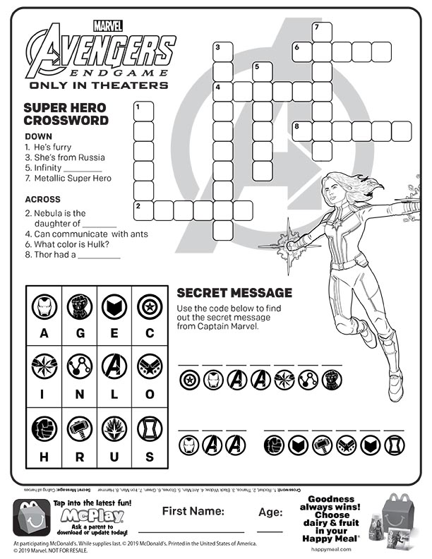 Mcdonalds Happy Meal Coloring And Activities Sheet Avengers