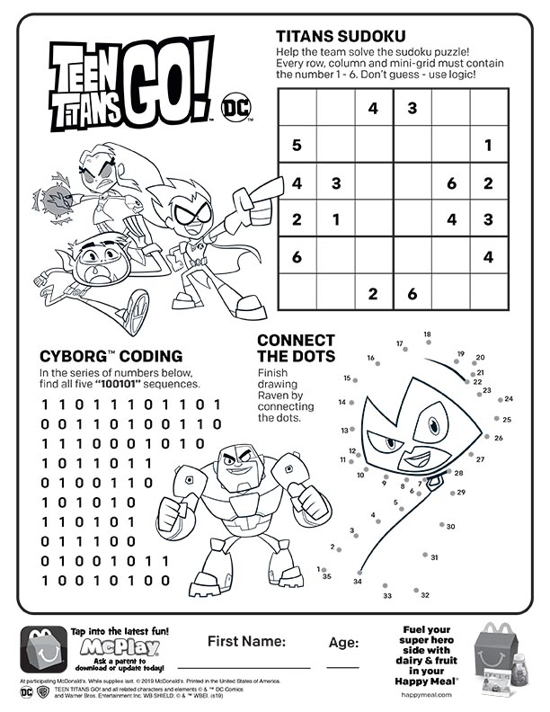 McDonalds Happy Meal Coloring and Activities Sheet – Teen Titans Go ...