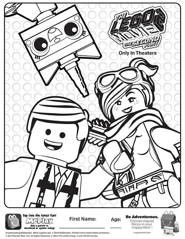 McDonalds Happy Meal Coloring Sheet – Lego Movie 2