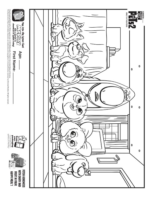 Mcdonalds Happy Meal Coloring Sheet The Secret Life Of