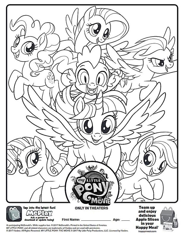 Mcdonalds Happy Meal Coloring And Activities Sheet My Little Pony