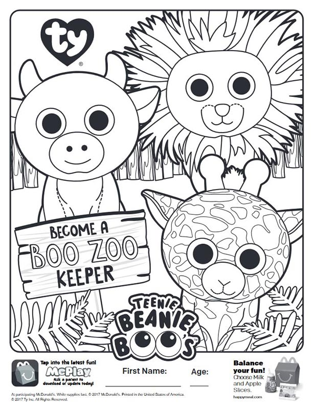 teenie beanie boos mcdonalds happy meal coloring activities