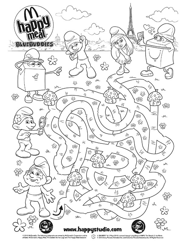 McDonalds Happy Meal Coloring and Activities Sheet – The Smurfs 2 ...