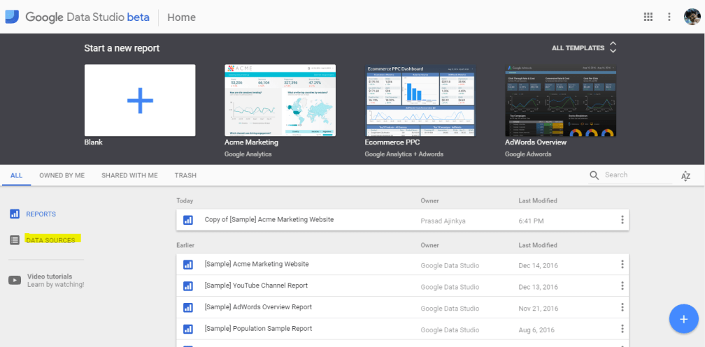 Choose the Data Source menu from the Dashboard