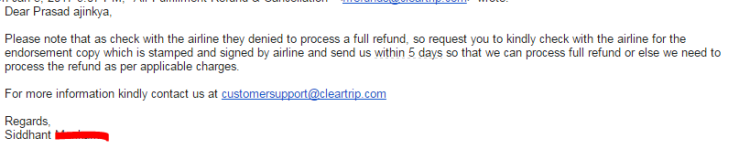 Jan 5th: Email from Cleartrip Team
