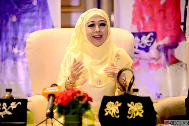 Her Highness Raja Nazhatul Shima binti Sultan Idris Shah, the founder and designer of Nazha Exclusive with some of her collections during the press conference