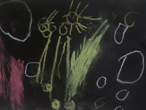 A child's chalk drawing of people