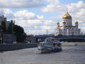 Riverboat on the Moscow River with St Saviour Catrhedral in the background