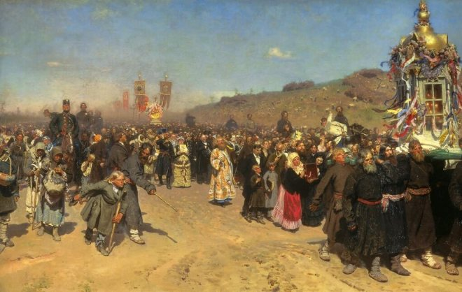 Repin's Easter Procession at the Tretyakov Gallery