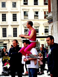 Pink street performer at Covent Garden