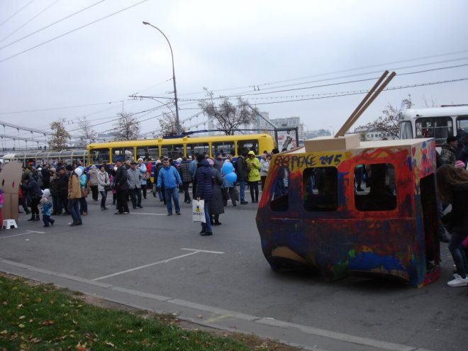 3D cardboard painted trolleybus at the trolleybus parade