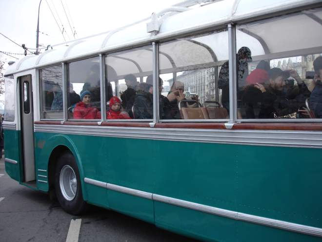 Trolleybus with big windows at the trolleybus parade