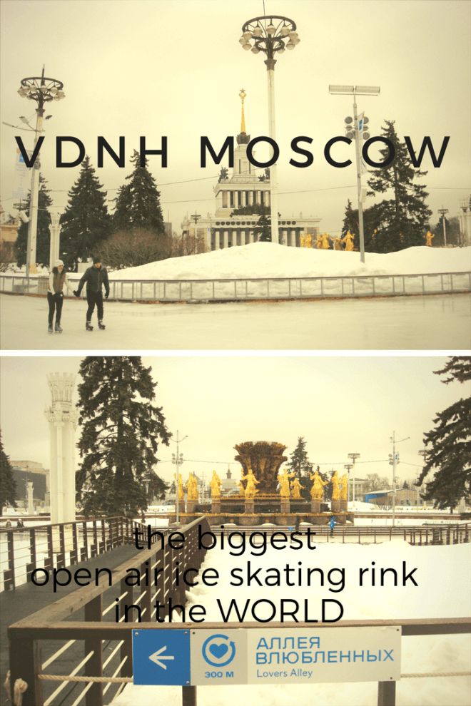 VDNH Moscow has the biggest outdoor open air ice skating rink in the world and it is fabulous.