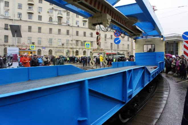 Breakdown rescue tram at the tram parade, Moscow