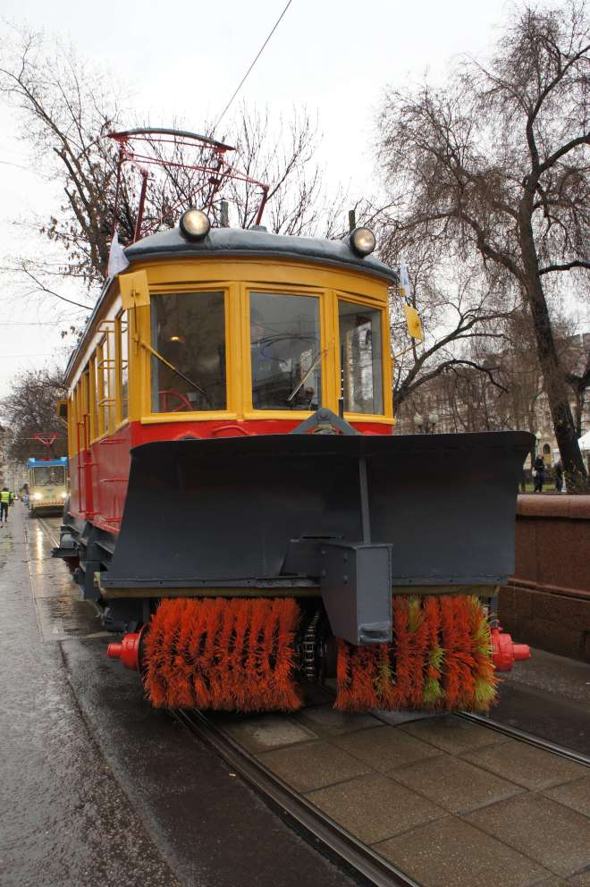 Vintage street cleaning tram at the tram parade, Moscow