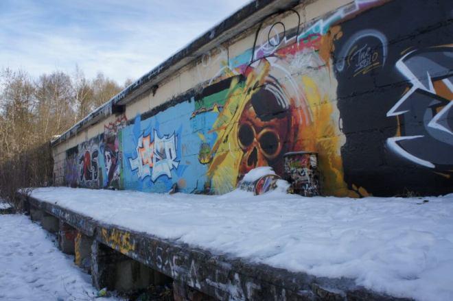 Street art skull Belokamennaya