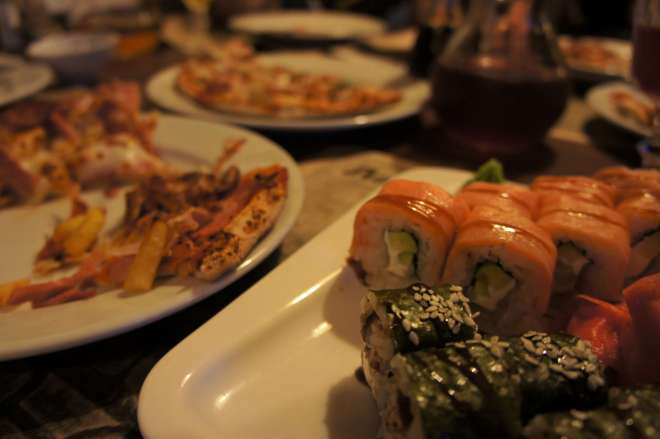 Sushi and Pizza at La Gatta Restaurant in Moscow