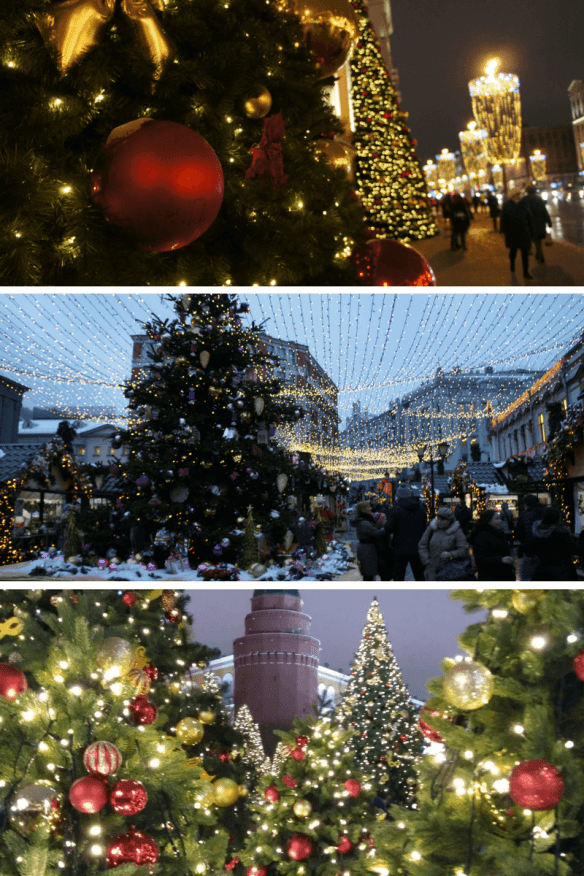 Christmas and New Year trees in Moscow