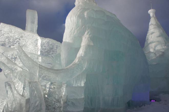 Ice mammoth sculpture at the Ice Festival Poklonnaya Hill Moscow