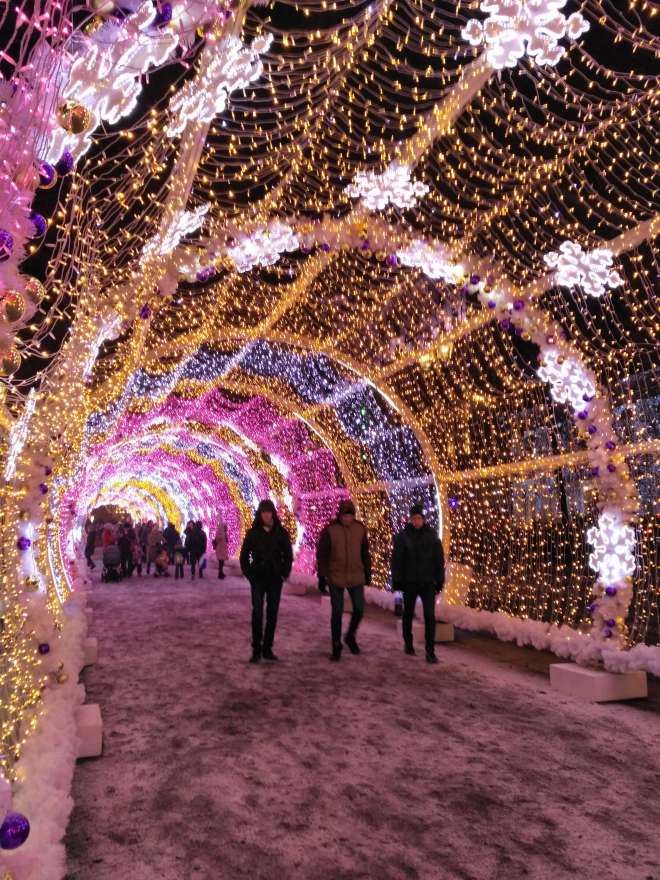 Light tunnel New Year street decoration in Moscow