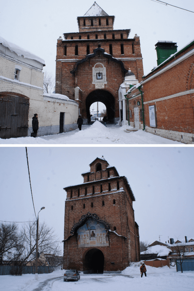 Gatehouse front and back in Kolomna Russia