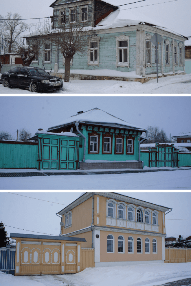 Wooden houses in Russia