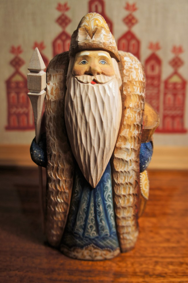A carved wooden figure of Ded Moroz the Russian Santa