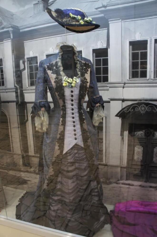 A woman's purple 19th century dress costume from the film Anna Karenina