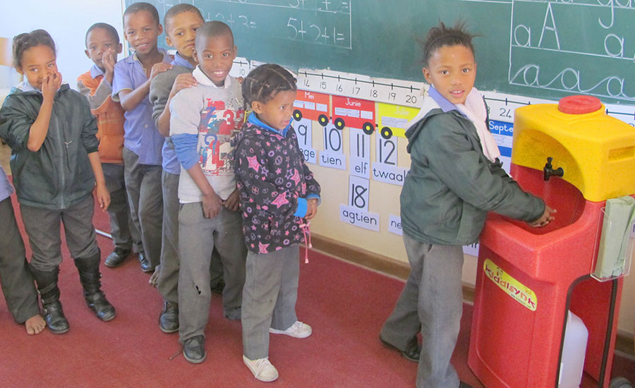 Portable sinks hand washing breakthrough for children in South Africa