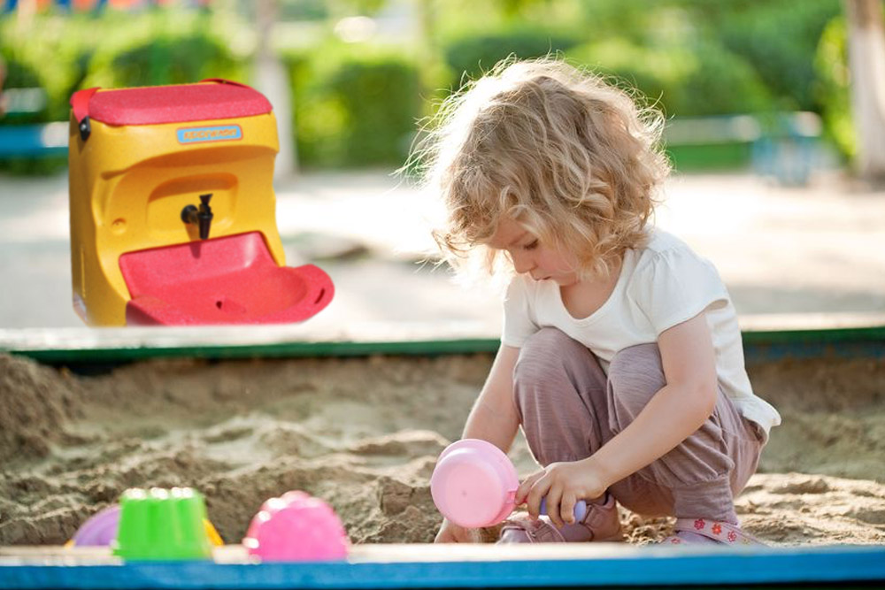 Hand washing recommended for kids after sand pit play