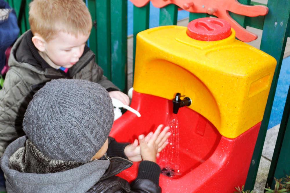Children hand washing to prevent norovirus