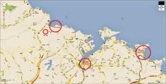 基隆市地圖,由於地理位置面向東北,上午會受到陽光照射,不易欣賞海景或是以海洋為攝影畫面。中午過後,陽光照向海面,成為絕佳的天然攝影棚~
