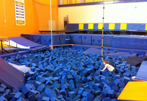 Swimming in sea of foam blocks at the PG Sport & Learning Complex