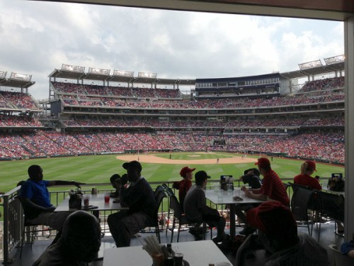 The Red Porch, a great place to cool off on a hot day and get a good view of the game