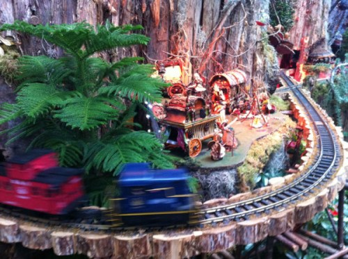 Model trains whiz through the garden railway at the U.S. Botanic Garden