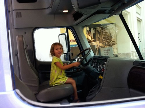 The cab of a semi is a huge hit with kids