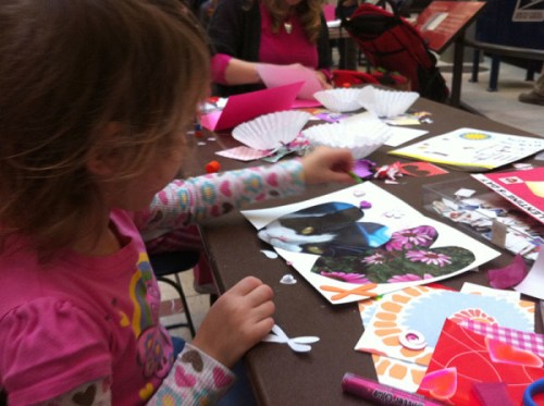 Creating Valentines at a card making workshop