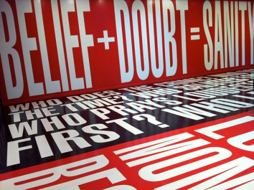 Text everywhere in the Belief+Doubt exhibit at the Hirshhorn