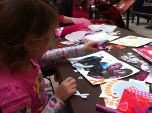 Creating Valentines at last year's card making workshop at the Postal Museum