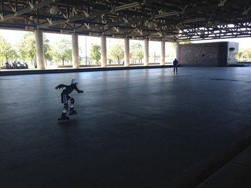 BYO wheels or rent roller skates for free at the Skating Pavilion