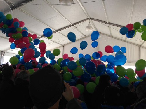 The colorful balloon drop at last year's Noon Yards Eve