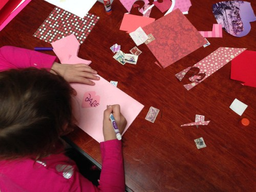 Making a Valentine for a special someone at last year's Postal Museum event